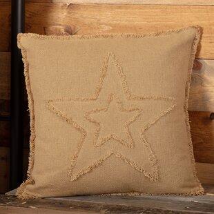 Castilleja Vintage Burlap Star 100% Cotton Throw Pillow