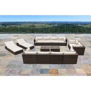 Ton 14 Piece Rattan Sectional Set with Cushions