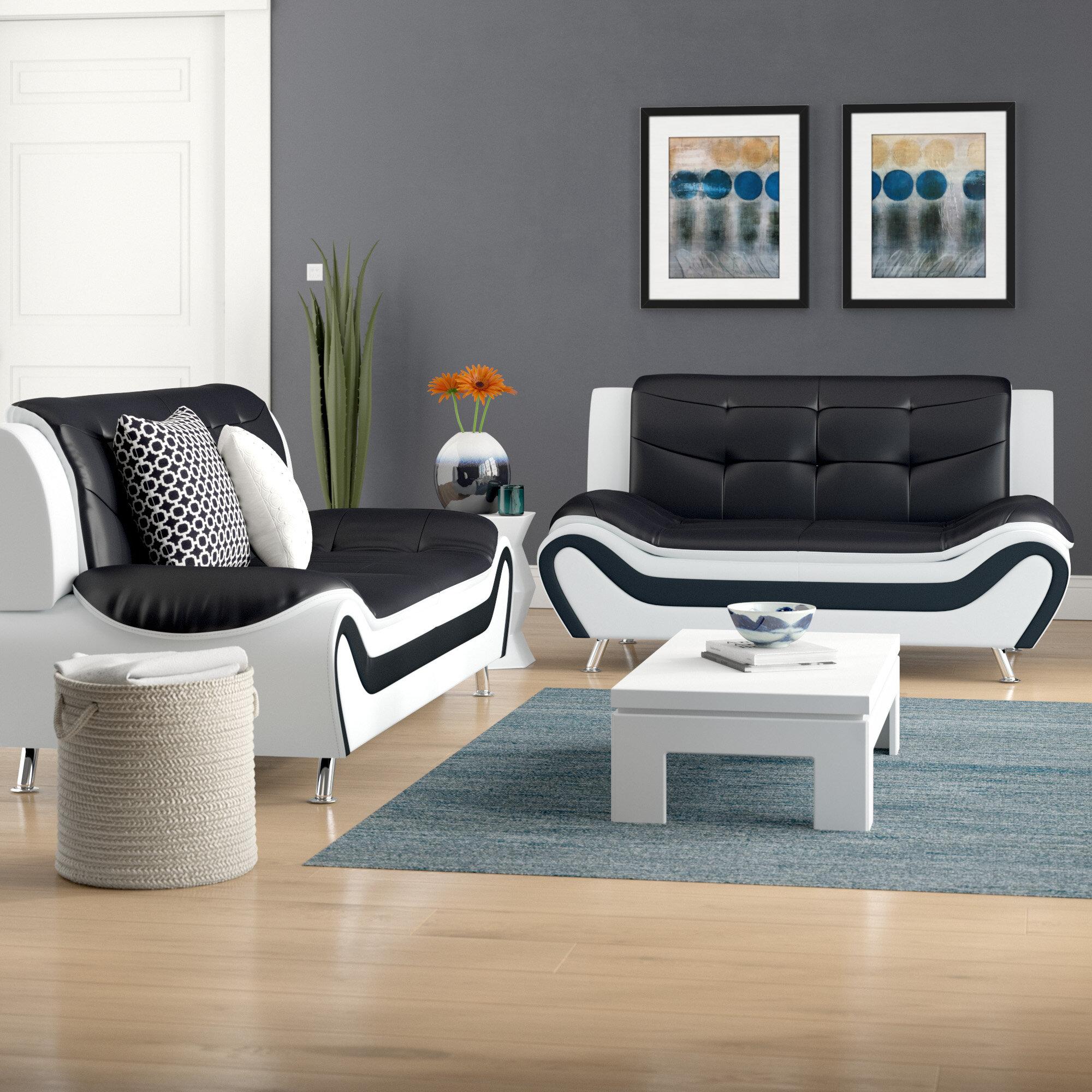 . Crocker 2 Piece Leather Living Room Set