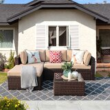 Aisen 5 Piece Rattan Sectional Seating Group with Cushions by Latitude Run
