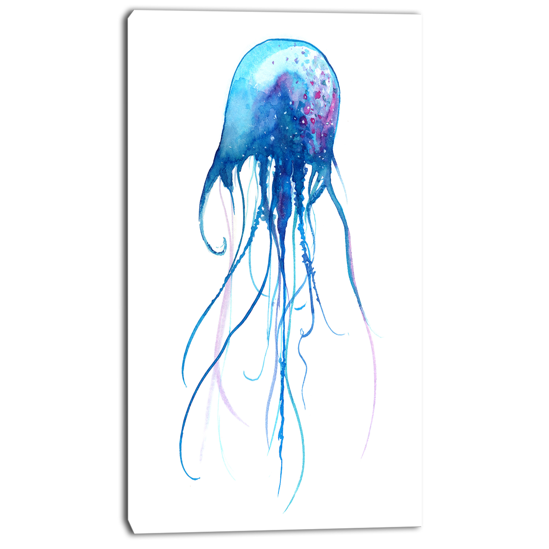 Designart Light Blue Jellyfish Watercolor Painting Print On Wrapped Canvas Wayfair