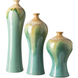 Billy 3 Piece Elongated Ceramic Table Vase Set