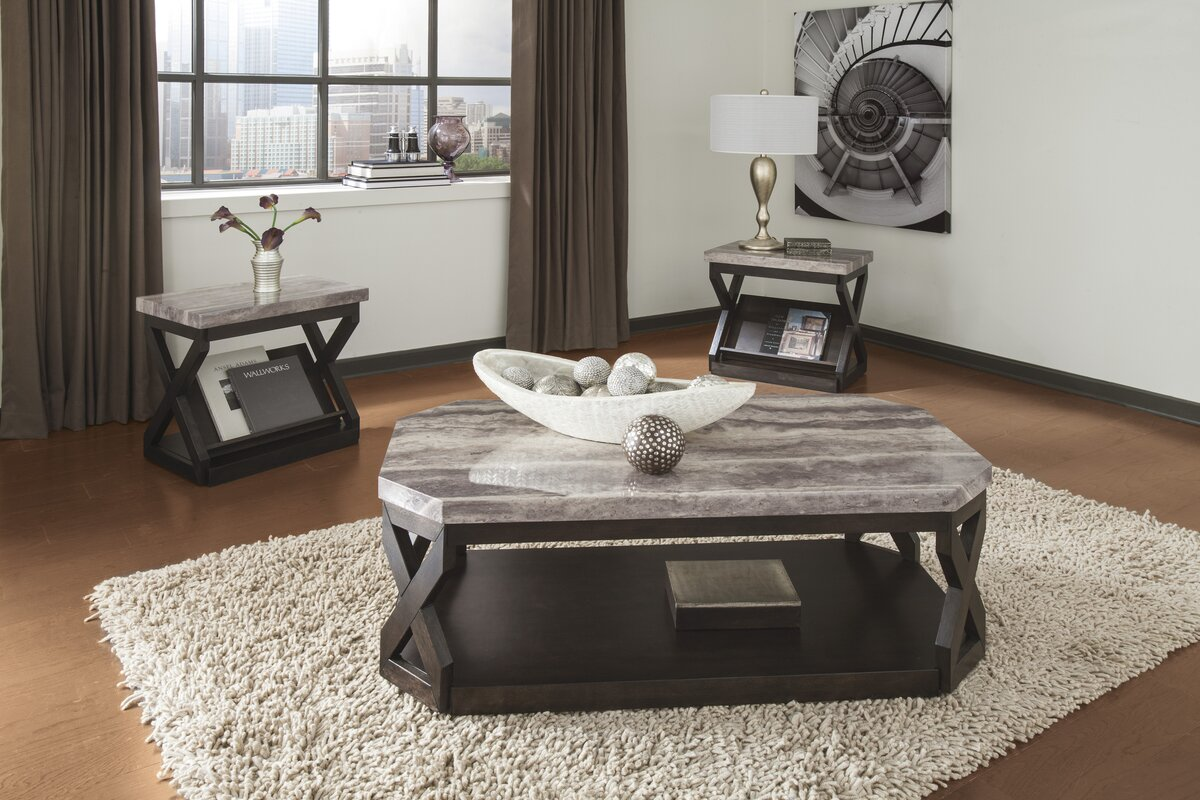 Latitude run kelton 3 piece coffee table set reviews - Brickmakers coffee table living room ...