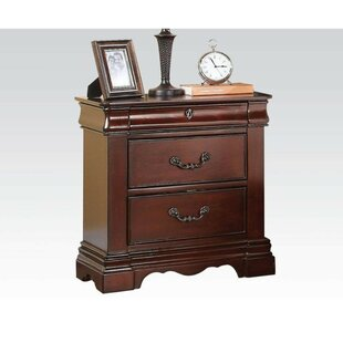 Strunk Wooden 3 Drawer Nightstand by Astoria Grand