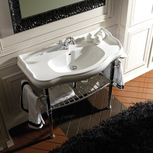 Shop For Retro Ceramic 34 Console Bathroom Sink with Overflow By WS Bath Collections