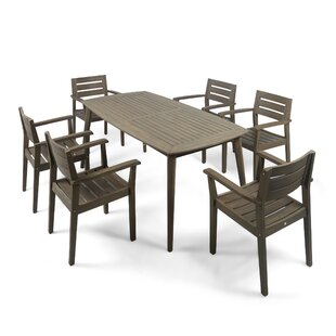 Sir Outdoor Acacia Wood 7 Piece Dining Set by Gracie Oaks