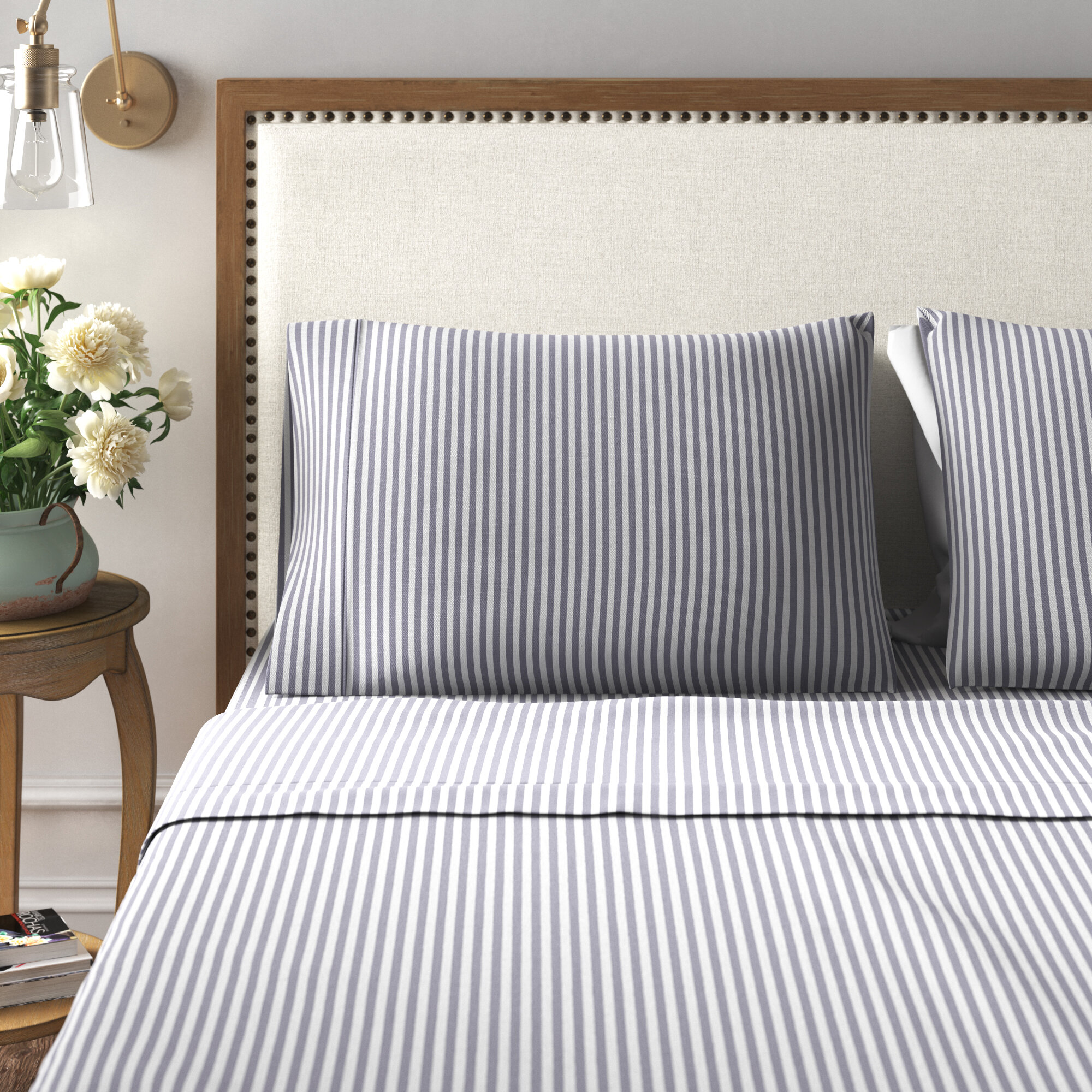 Kelly Clarkson Home Brooke 300 Thread Count Striped 100 Cotton Sheet Set Reviews Wayfair
