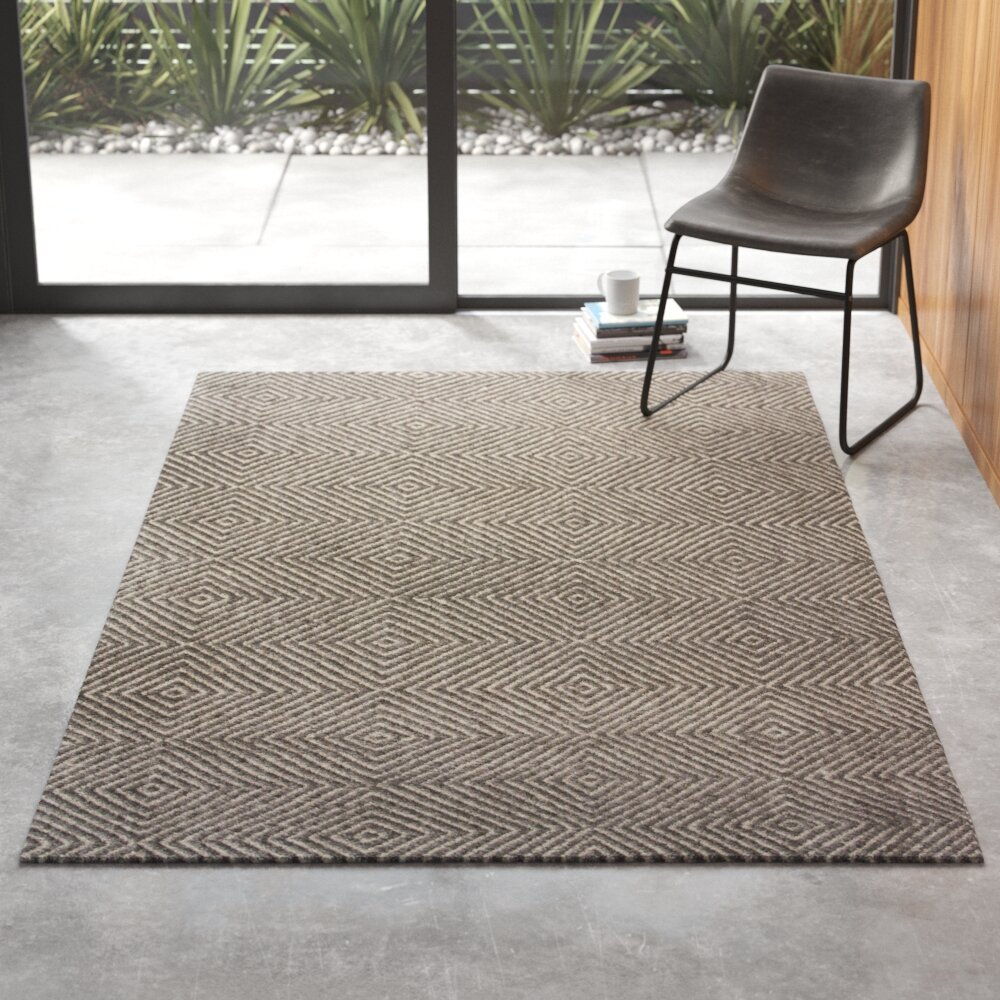 Hand Tufted Wool Cotton Gray Area Rug