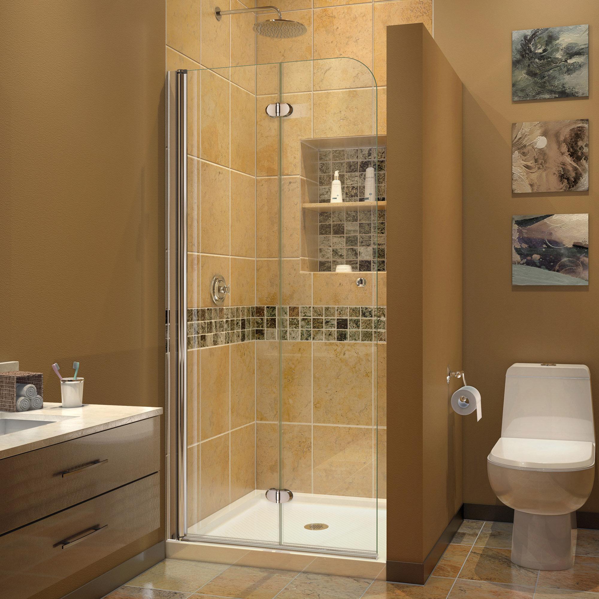 Dreamline Aqua Fold 33 5 W X 72 H Pivot Semi Frameless Shower Door Reviews Wayfair