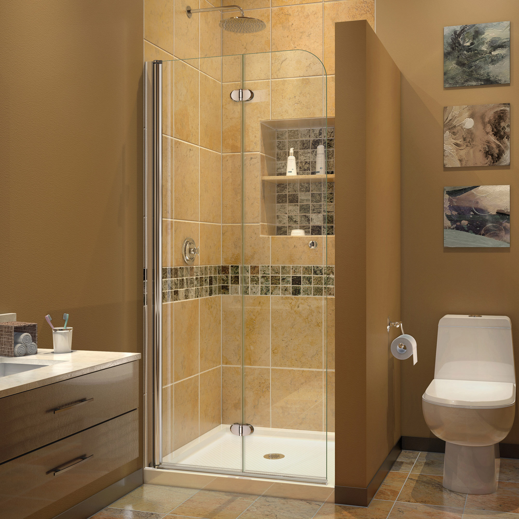 Dreamline Aqua Fold 335 X 72 Hinged Semi Frameless Shower Door