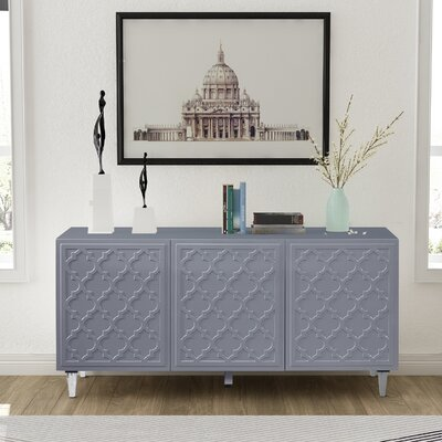 """Everly Quinn Madson 64.85"""" Wide Buffet Table  Color: Gray"""