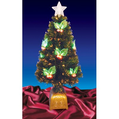 Fiber Optic Artificial Christmas Tree with LED Holly Berries
