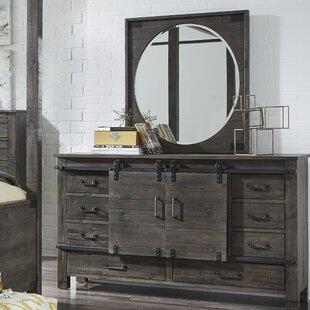 Sliding Door 8 Drawer Combo Dresser With Mirror