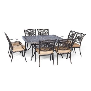Three Posts Lauritsen 9 Piece Dining Set with Foam Cushion