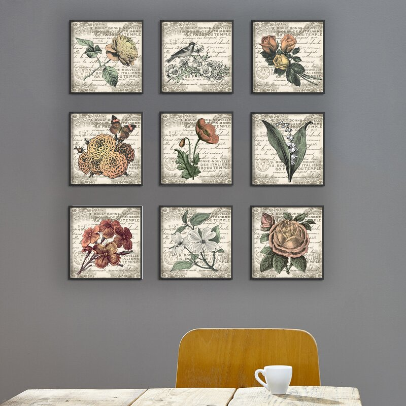 one allium way french botanical illustrations 9 piece canvas wall