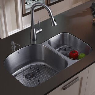 VIGO 31 inch Undermount 70/30 Double Bowl 18 Gauge Stainless Steel Kitchen Sink with Aylesbury Stainless Steel Faucet, Two Grids, Two Strainers and Soap Dispenser