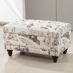 Bellasario Collection Traditional Paris Vintage French Writing Button Tufted Wood Storage Bench
