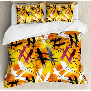 Modern Abstract Digital Graffiti Image With Marigold Backdrop And Stripes Duvet Set