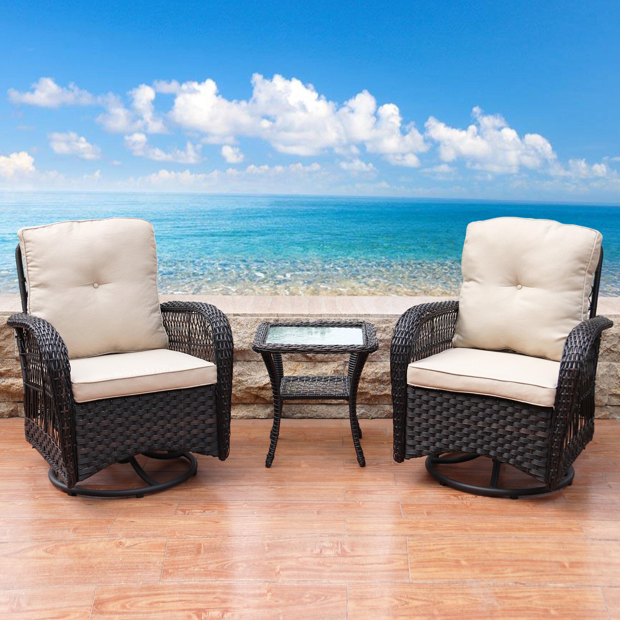 August Grove Kamren 3 Piece Rattan Seating Group With Cushions Reviews Wayfair Ca