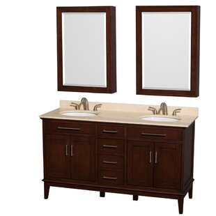 Hatton 60 Double Dark Chestnut Bathroom Vanity Set with Medicine Cabinet