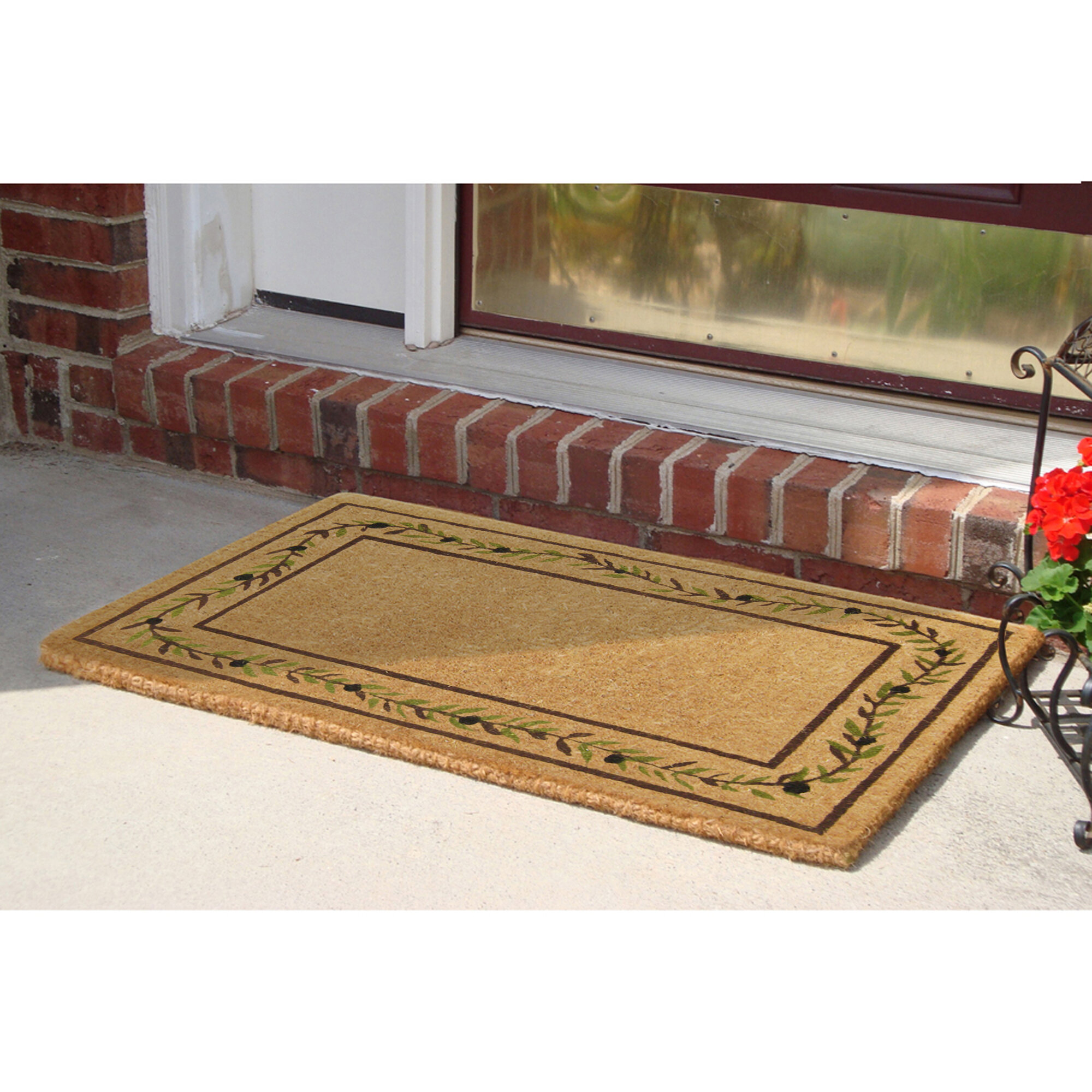 Nedia Home Olive Branch Border 36 In X 22 In Non Slip Outdoor Door Mat Wayfair Ca