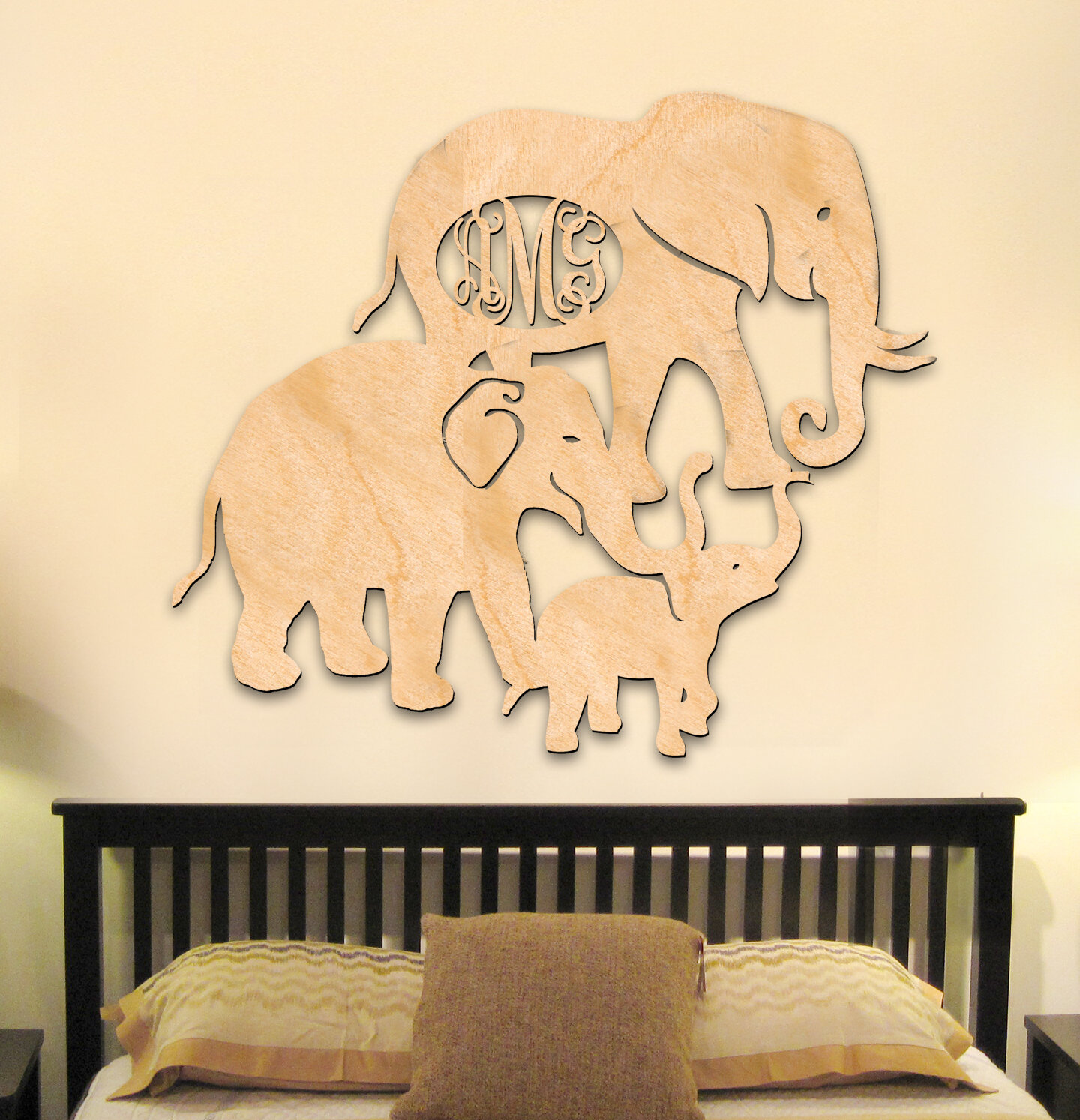Bloomsbury Market Personalized Elephant Family 3 Letter Wooden Wall ...