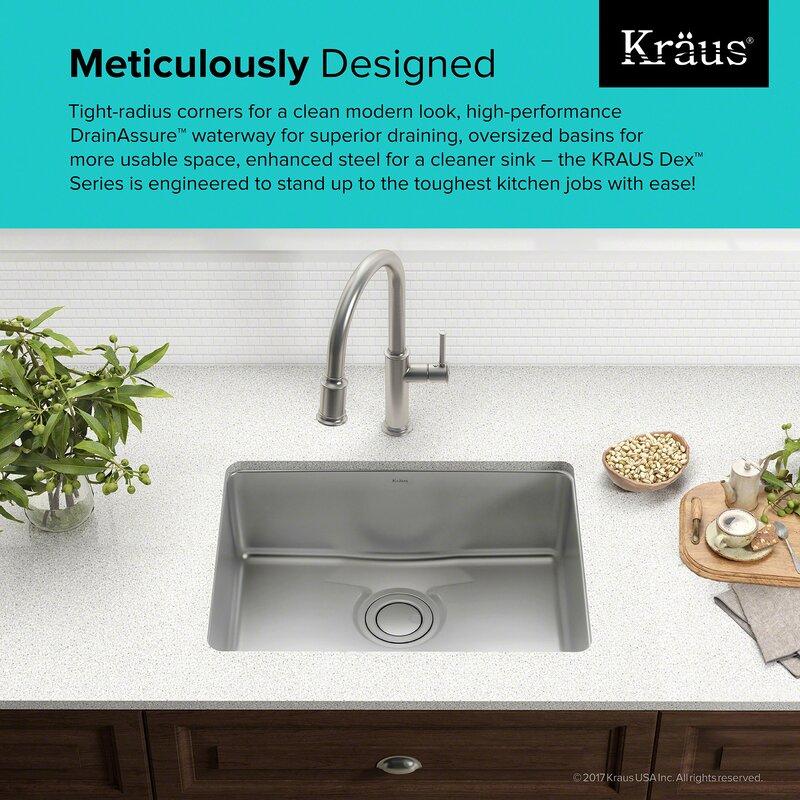 dex    series 25   x 19   undermount kitchen sink kraus dex    series 25   x 19   undermount kitchen sink  u0026 reviews      rh   wayfair com