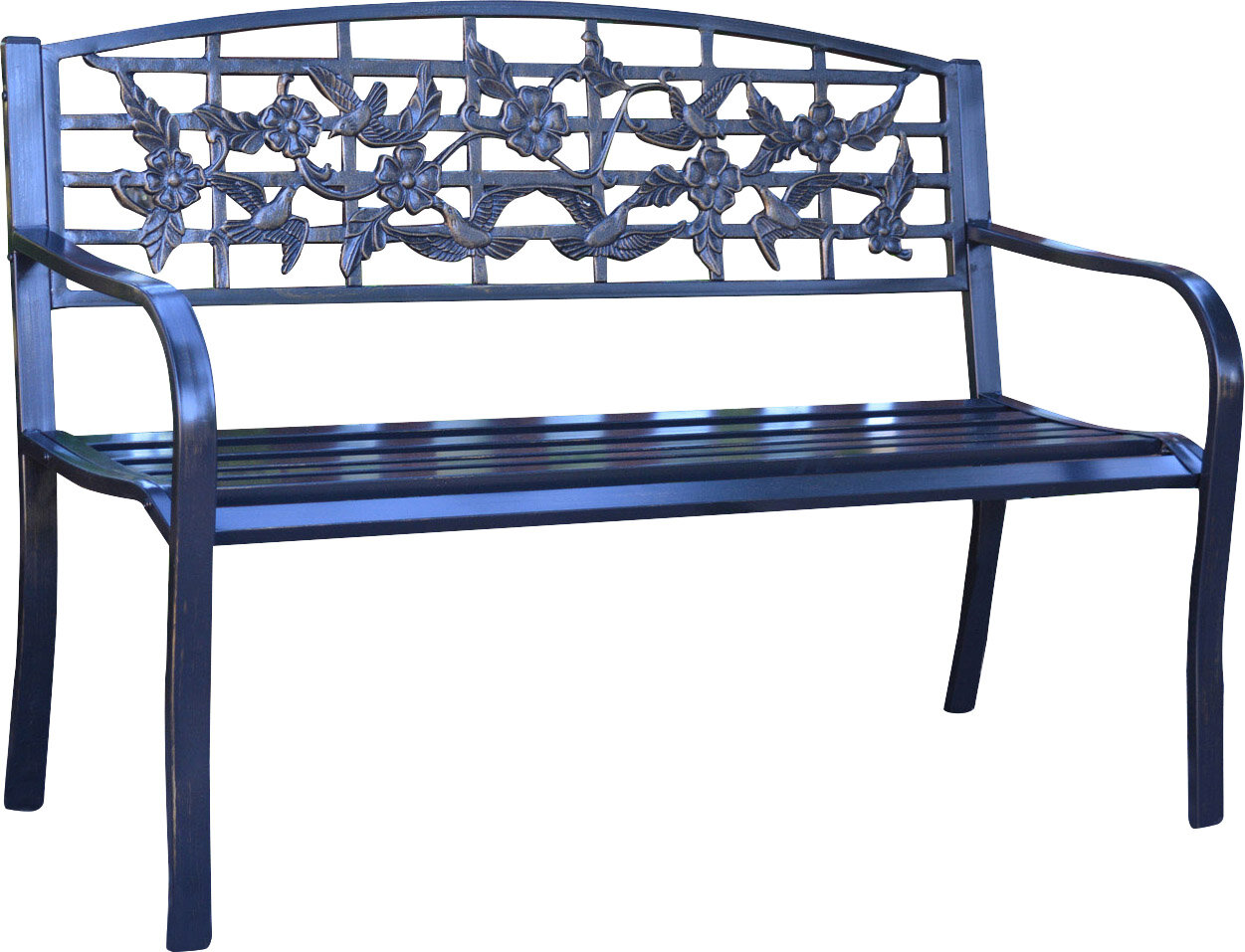 Flowers And Bird Curved Back Metal Park Bench Reviews Joss Main