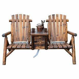 Millwood Pines Gwen Solid Wood Double Adirondack Chair with Table