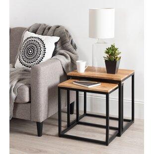 Teena Metal and Wood 2 Piece Nesting Tables by Brayden Studio