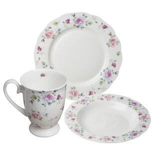 Stockwell Bone China Romantic Rose 12 Piece Dinnerware Set, Service for 4