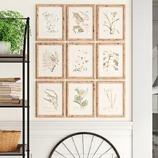 'Botanical' 9 Piece Watercolor Painting Print Set