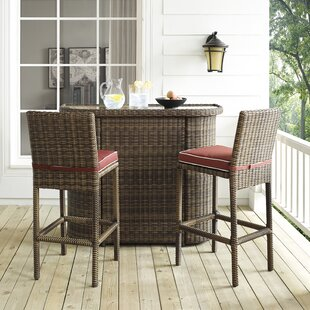 Beachcrest Home Dardel 3 Piece Bar Height Dining Set