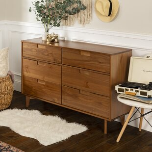 Gartner Groove Handle Wood 6 Drawer Double Dresser by George Oliver