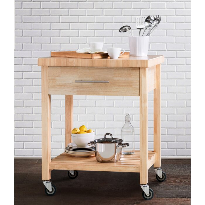 This All Rubber Wood Kitchen Cart