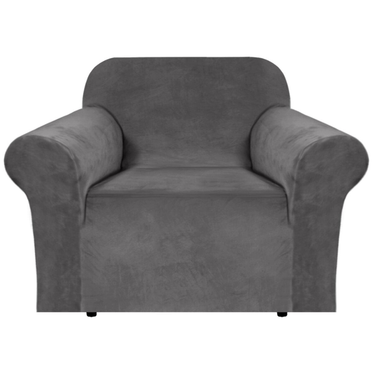 Canora Grey Luxurious Velvet Box Cushion Armchair Slipcover Wayfair