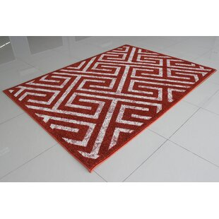 Affordable Price Mccollough Terracotta/White Area Rug By Orren Ellis