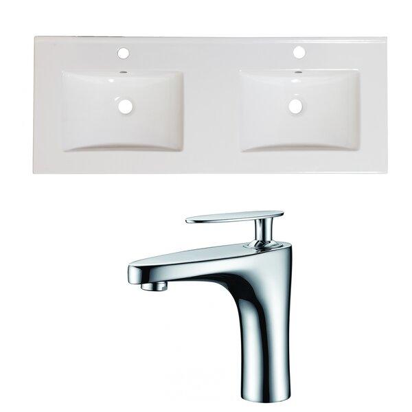 Wrought Studio Anirudh Ceramic 59 Double Bathroom Vanity Top Wayfair