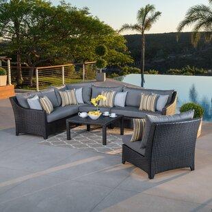Northridge 6 Piece Rattan Sunbrella Sectional Set with Cushions by Three Posts