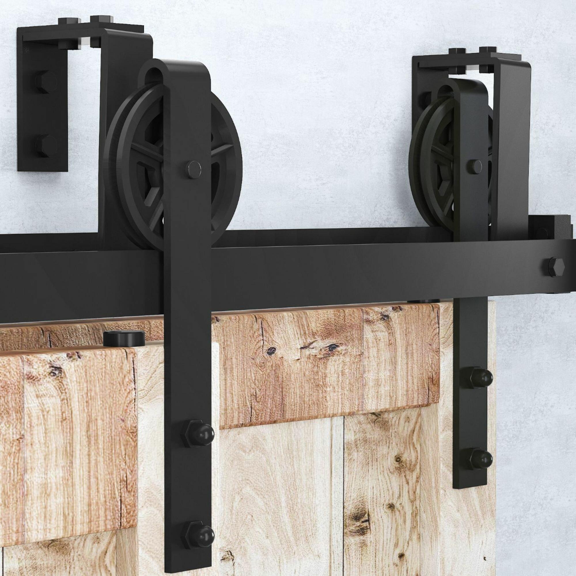 Homacer Double Bypass Double Door Barn Door Hardware Kit Reviews Wayfair Ca