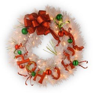 decorative pre lit ho ho ho wreath with 50 battery operated white led lights