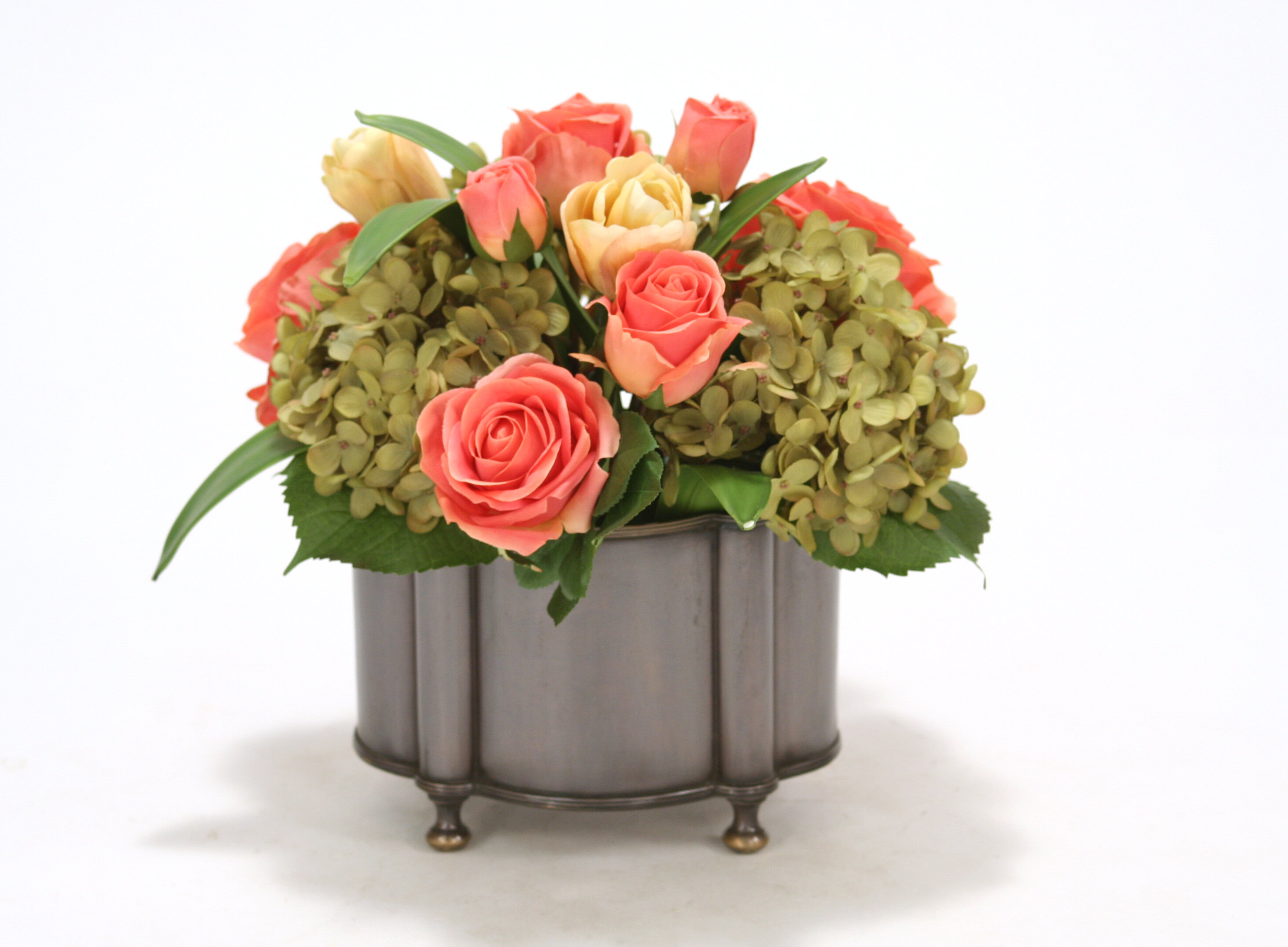Distinctive Designs Coral Roses Yellow Pink Tulips And Green