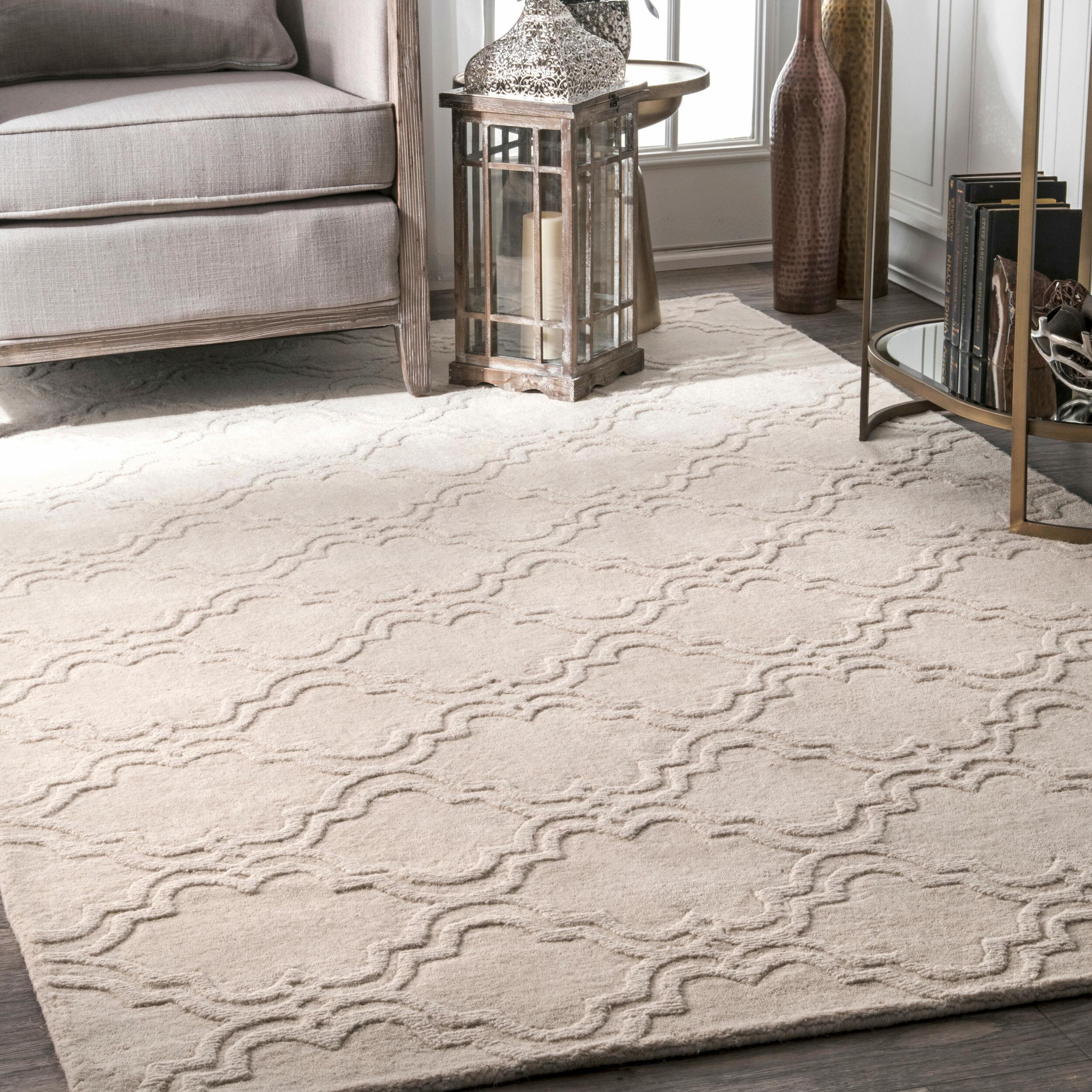 Godwin Geometric Handmade Tufted Wool Ivory Area Rug Reviews Birch Lane