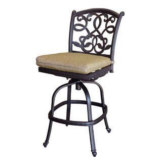 Windley Patio Armless Swivel Bar Stool with Cushion (Set of 6) (Set of 6)