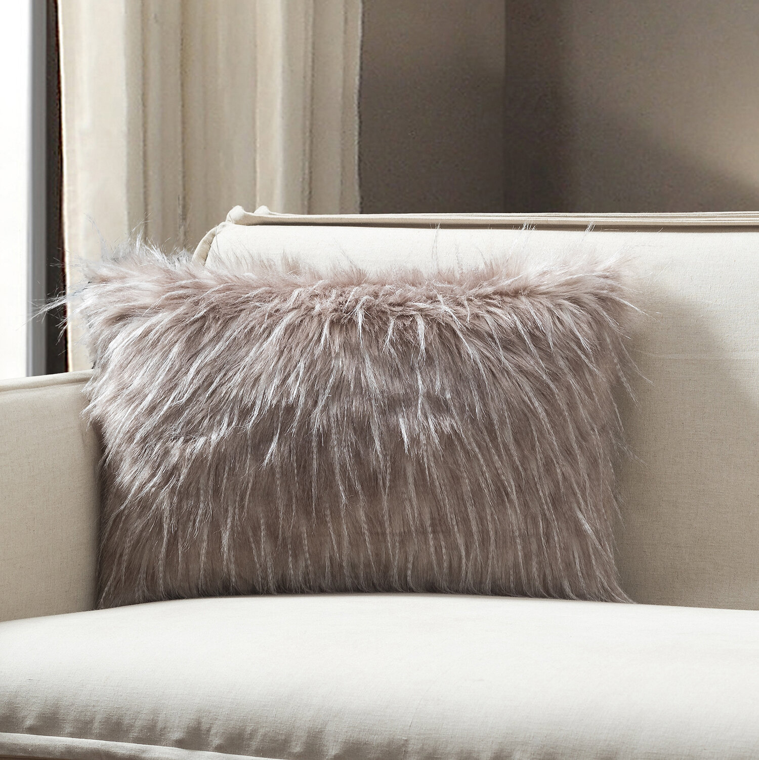 Picture of: Union Rustic Tani Feather Faux Fur Lumbar Pillow Cover Reviews Wayfair