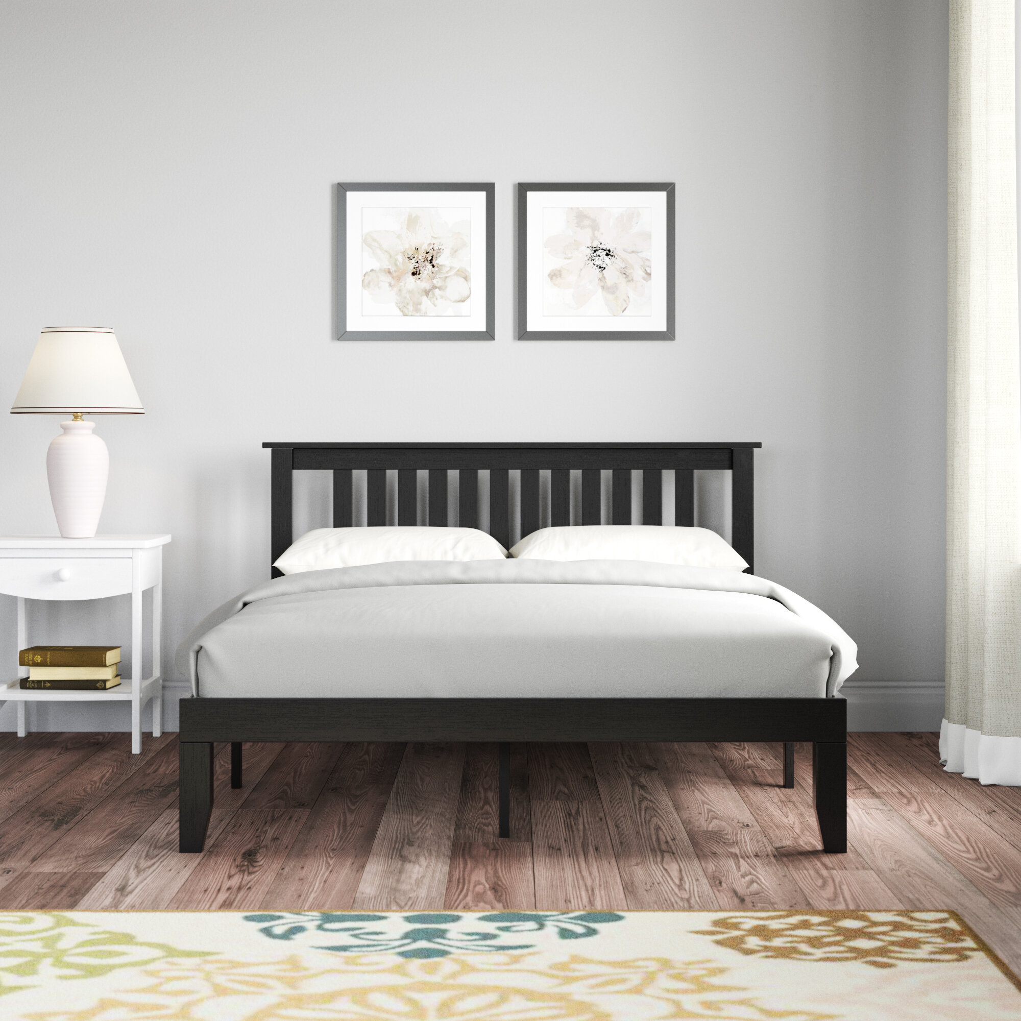 Travie Solid Wood Platform Bed With Panelled Headboard, Ebony Black
