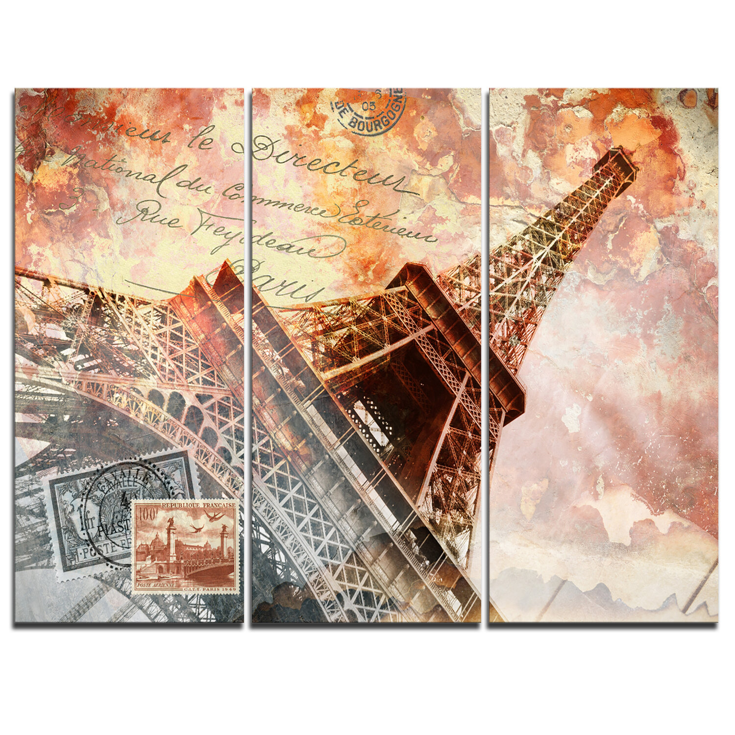 Designart Eiffel Tower Paris 3 Piece Graphic Art On Wrapped Canvas Set Wayfair