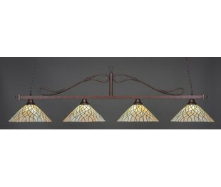 Reba Tiffany 4-Light Billiard Pendant by Fleur De Lis Living