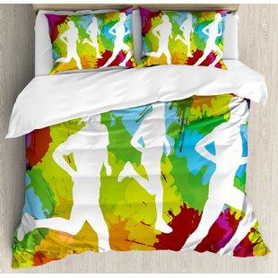 East Urban Home Runners Silhouettes on Watercolor Splashes Jogging Outdoors Sportsman Marathon Duvet Set