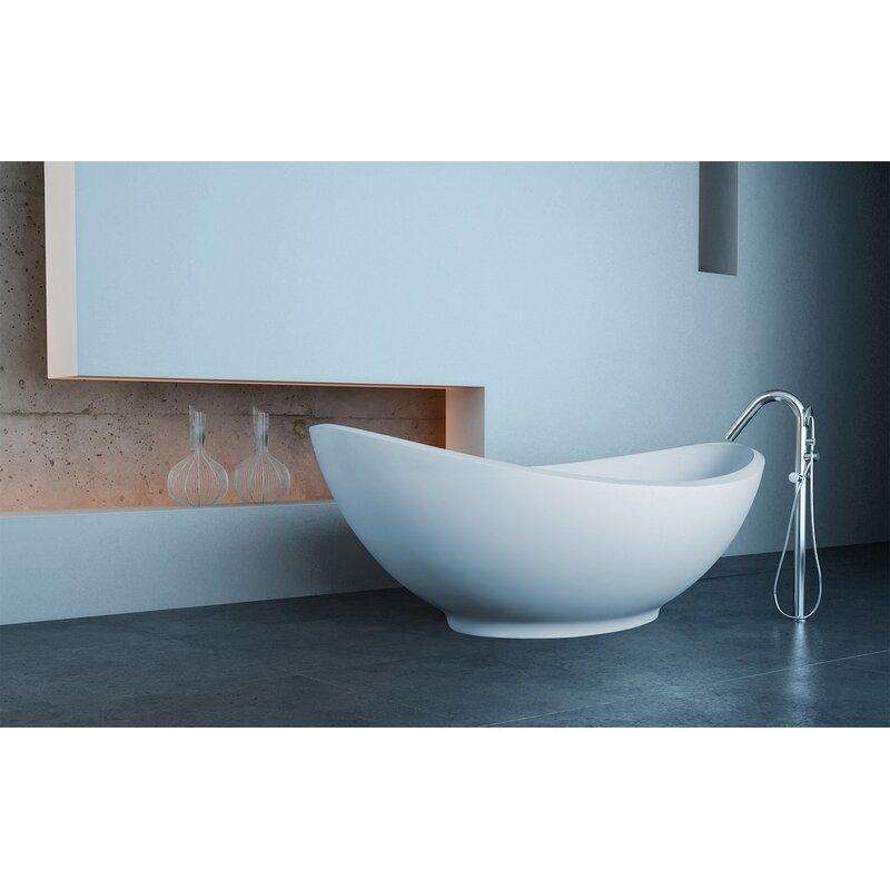 "Lavasca 64"" x 35"" Freestanding Soaking Solid Surface Bathtub"